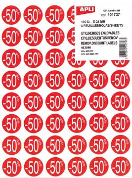 Agipa Kortinglabel -50%, rood, pak van 192 stuks, verwijderbaar