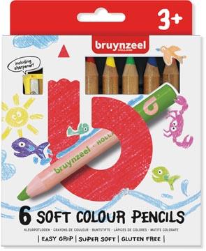 Bruynzeel Kids zachte kleurpotloden, set van 6 stuks in geassorteerde kleuren