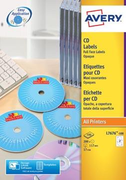 Avery L7676-100 CD etiketten, diameter 117 mm, 200 etiketten, wit