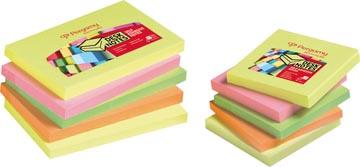 Pergamy notes, ft 76 x 76 mm, 4 geassorteerde neon kleuren, pak van 12 blokken