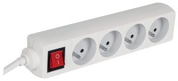 Perel contactdoos met 4 stopcontacten en schakelaar, voor Nederland