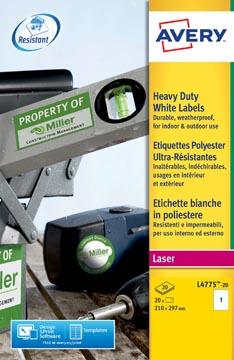 Avery L4775-20 ultra-sterke etiketten ft 210 x 297 mm (b x h), 20 etiketten, wit