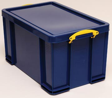Really Useful Box opbergdoos 84 liter, donkerblauw met gele handvaten