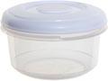 Whitefurze boîte de conservation ronde 0,1 litre, transparent avec couverle blanc